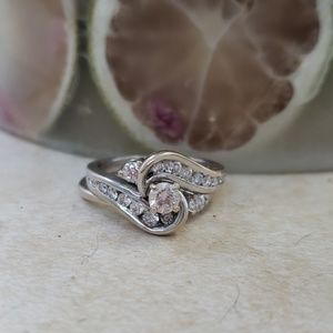 Size 8 diamond wedding ring set